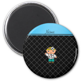 Personalized name doctor black criss cross magnets