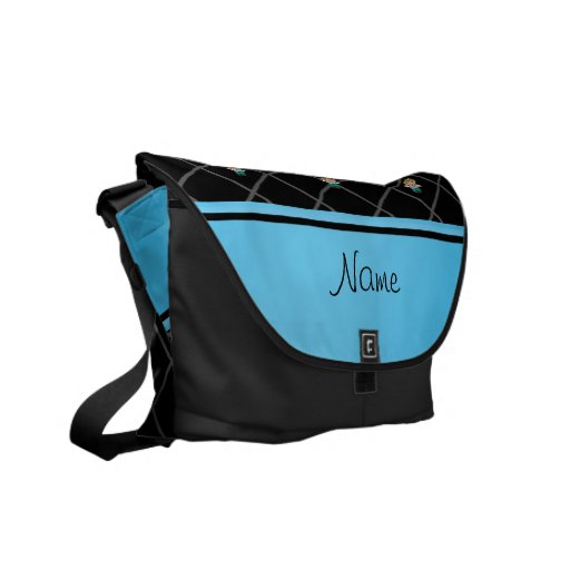 Personalized name doctor black criss cross messenger bag