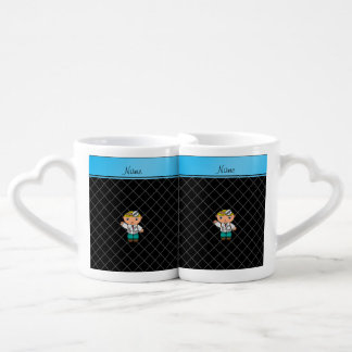 Personalized name doctor black criss cross couples mug