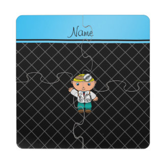 Personalized name doctor black criss cross puzzle coaster