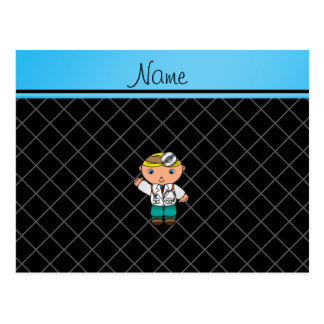 Personalized name doctor black criss cross post cards