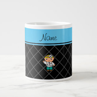 Personalized name doctor black criss cross extra large mugs