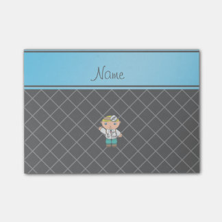 Personalized name doctor black criss cross post-it® notes