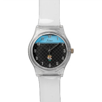 Personalized name doctor black criss cross watches