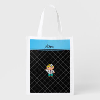 Personalized name doctor black criss cross reusable grocery bag