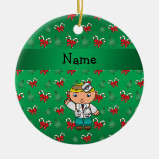 Personalized name doctor green candy canes bows christmas ornament