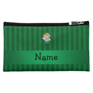 Personalized name doctor green stripes cosmetics bags