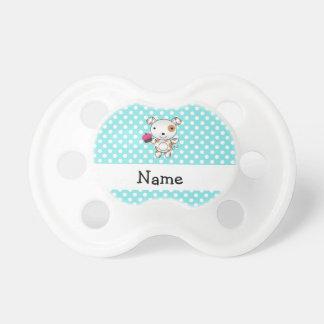 Personalized name dog cupcake blue polka dots dummy