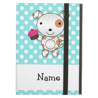 Personalized name dog cupcake blue polka dots cover for iPad air