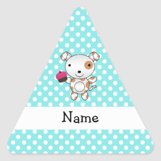 Personalized name dog cupcake blue polka dots stickers