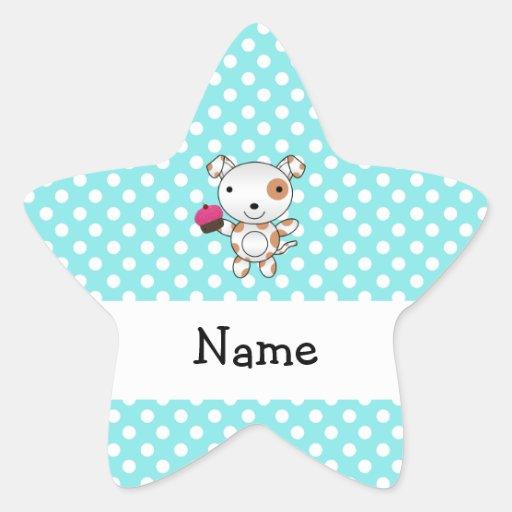 Personalized name dog cupcake blue polka dots sticker