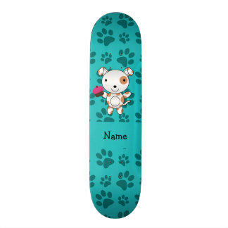Personalized name dog cupcake turquoise paws skate boards