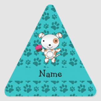 Personalized name dog cupcake turquoise paws sticker