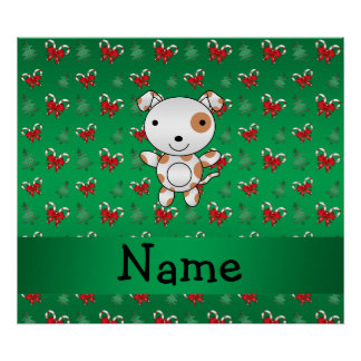 Personalized name dog green candy canes bows poster