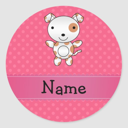 Personalized name dog pink polka dots round stickers