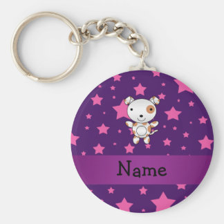 Personalized name dog pink stars purple basic round button key ring