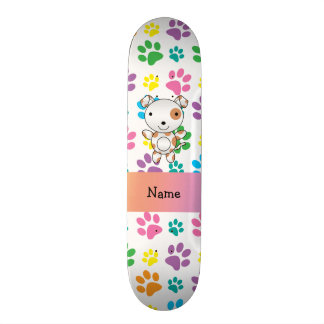 Personalized name dog rainbow paws skate deck