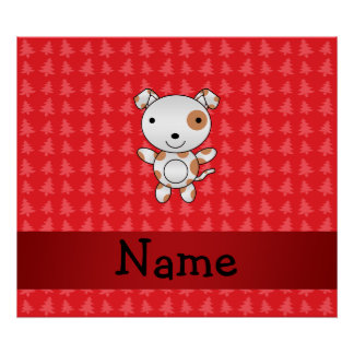 Personalized name dog red christmas trees poster