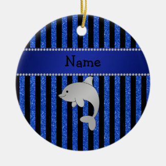 Personalized name dolphin black blue glitter strip christmas ornament