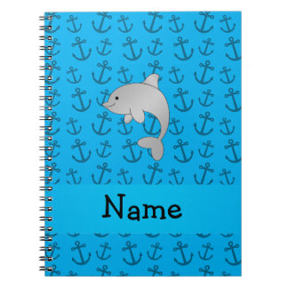 Personalized name dolphin blue anchors pattern notebook