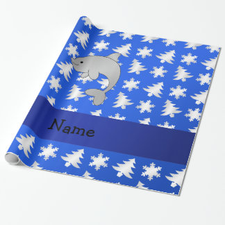 Personalized name dolphin blue snowflakes trees wrapping paper