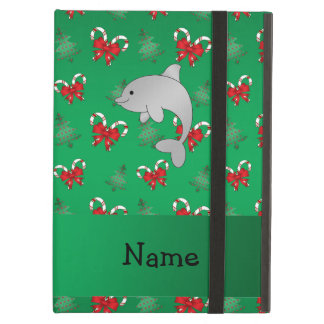 Personalized name dolphin green candy canes bows iPad air case