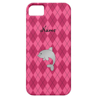 Personalized name dolphin pink argyle case for the iPhone 5