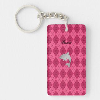 Personalized name dolphin pink argyle acrylic keychain