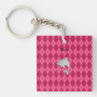 Personalized name dolphin pink argyle Double-Sided square acrylic keychain