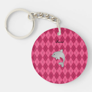 Personalized name dolphin pink argyle key chain