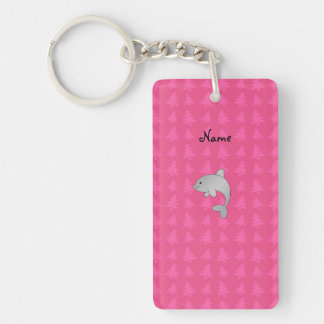 Personalized name dolphin pink christmas trees Double-Sided rectangular acrylic key ring