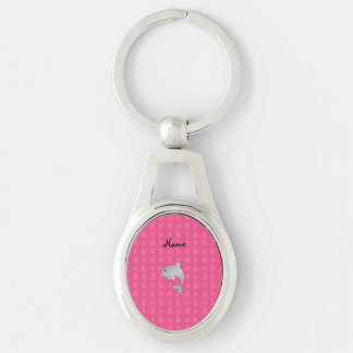 Personalized name dolphin pink christmas trees Silver-Colored oval key ring