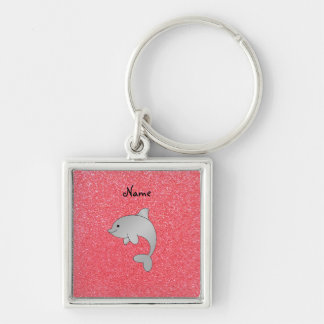 Personalized name dolphin pink glitter key chain
