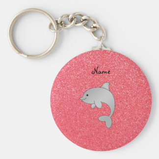 Personalized name dolphin pink glitter key chains