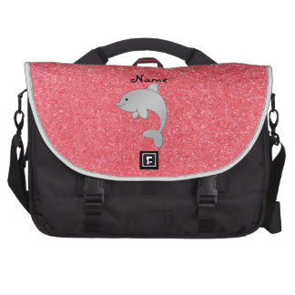 Personalized name dolphin pink glitter commuter bags