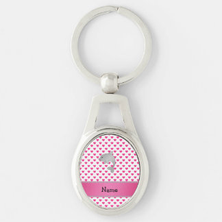 Personalized name dolphin pink hearts polka dots Silver-Colored oval key ring