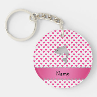 Personalized name dolphin pink hearts polka dots Single-Sided round acrylic key ring