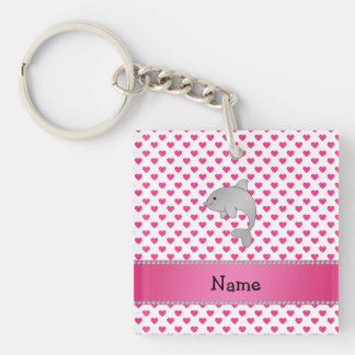Personalized name dolphin pink hearts polka dots Single-Sided square acrylic key ring