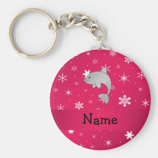 Personalized name dolphin pink snowflakes key chain