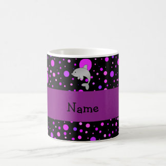 Personalized name dolphin purple polka dots coffee mug