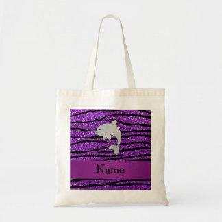Personalized name dolphin purple zebra stripes budget tote bag