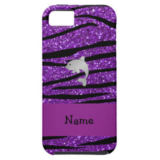 Personalized name dolphin purple zebra stripes iPhone 5 cover