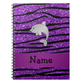 Personalized name dolphin purple zebra stripes notebooks
