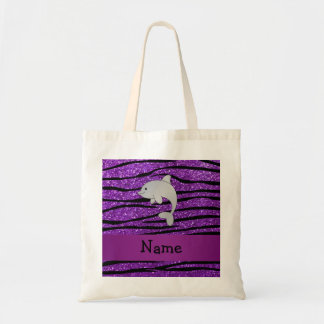 Personalized name dolphin purple zebra stripes tote bag