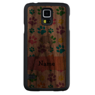 Personalized name dolphin rainbow paws carved walnut galaxy s5 case