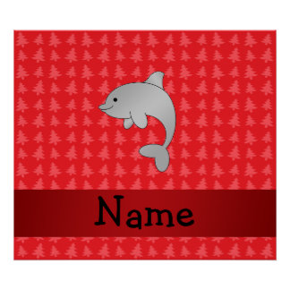 Personalized name dolphin red christmas trees posters