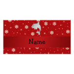Personalized name dolphin red snowflakes picture card