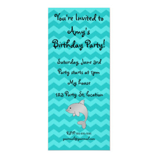 Personalized name dolphin turquoise chevrons card