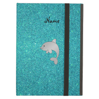 Personalized name dolphin turquoise glitter case for iPad air
