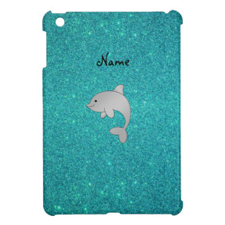 Personalized name dolphin turquoise glitter cover for the iPad mini